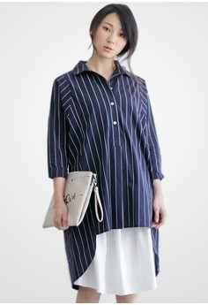 Oversized Pinstriped High Low Shirt