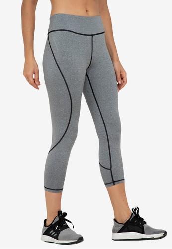 ZALORA ACTIVE grey Contrast Stitch Curve Panel Leggings 967A7AA8DF4161GS_1