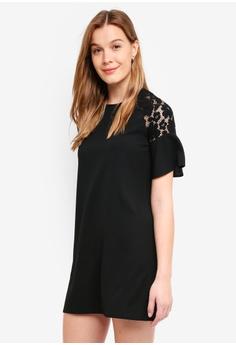 ZALORA BASICS black Basic Lace Sleeve Dress EB251AA71082EEGS 1 b05a71c1a