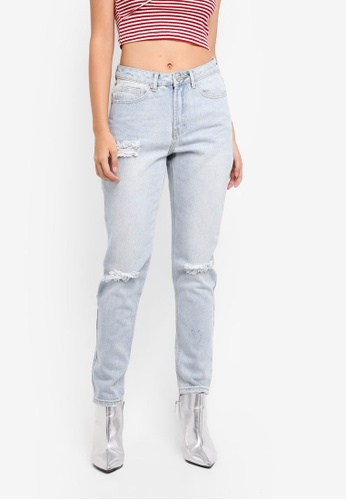 MISSGUIDED blue Riot High Rise Busted Knee Mom Jeans DD630AAB7E8B03GS_1