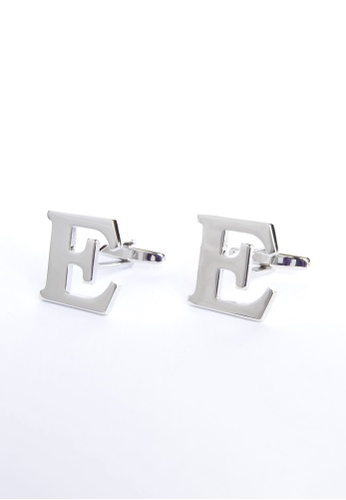 Splice Cufflinks silver Monogram Alphabet Rhodium Plated Cufflinks - E SP744AC03PRWSG_1
