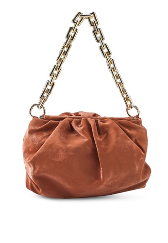 Red's Revenge brown Mia Chain Embellished Pouch Shoulder Bag F2B16ACA54AA0FGS_1