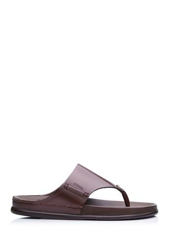 BONIA brown Men Dark Brown Leather Slides B7157SH7DF42ABGS_1