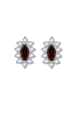 SC Tom Silver silver Crystal Oblong Birthstone Stud Earrings (January) SC872AC0J6HIPH_1