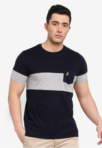 Brave Soul multi and navy Pious T-Shirt with Cut and Sew Detail 74E98AA79E0824GS_1