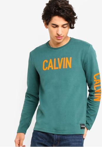 Calvin Klein 綠色 Long Sleeve Fashion Logo Slim Tee - Calvin Klein Jeans 2B21EAABEAF648GS_1