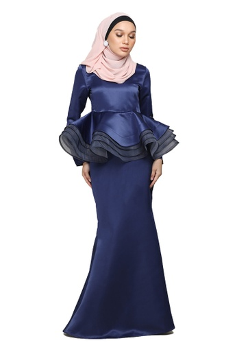 Diore peplum kurung from ARCO in Blue and Navy
