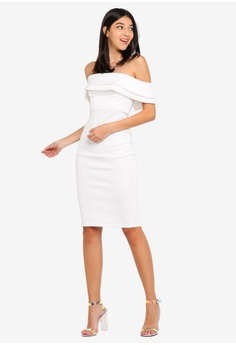 e5b942b4a9e Miss Selfridge Cream Scuba Bardot Ivy Dress RM 299.00. Sizes 6 8 10 12 14