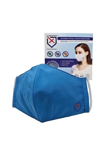 Mysafex blue MYSAFEX™ Reusable & Washable Antibacterial Nano Face Mask Individual Pack L size - Blue D4AD5ES1C7C6D7GS_1