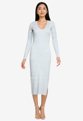 Forever New blue Kourtney V-Neck Rib Knit Dress E4FC8AA7685E98GS_1