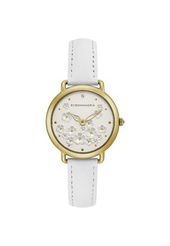 BCBG white BCBGMAXAZRIA BG50676002 Gold Tone and White Leather Watch 69401ACEE0D578GS_1