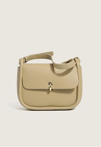 Lara beige Women's PU Leather Flap Cross-body Bag Shoulder Bag - Khaki 4A51FAC1B85CA0GS_1
