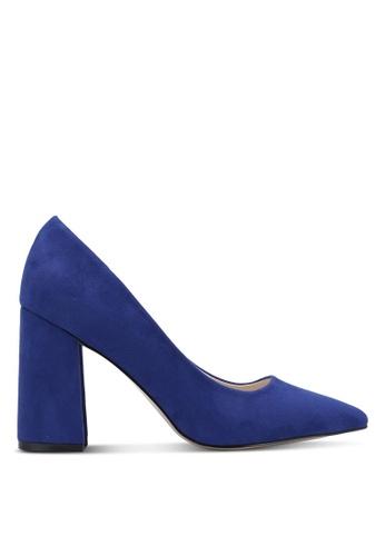 ZALORA 海軍藍色 絲絨質感粗跟高跟鞋 AC18CZZ007CB0BGS_1