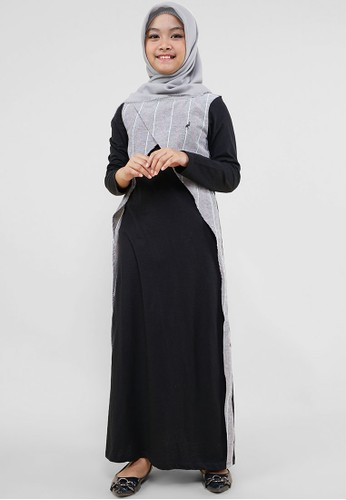 Cressida Kids black and grey Astria Dress A27E4KA8836B0CGS_1
