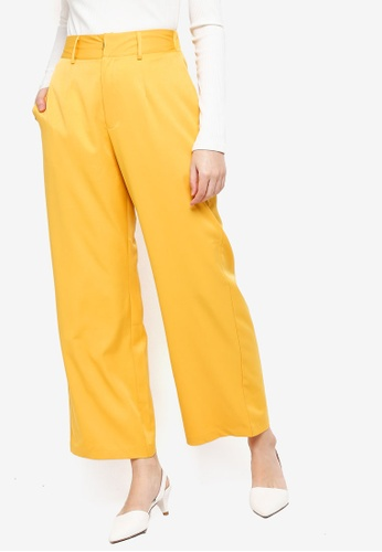 Zalia yellow Basic Wide Leg Trousers 67A60AAFCBD89FGS_1