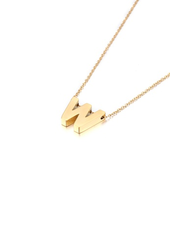 Glamorousky silver Simple Personality Plated Gold English Alphabet W 316L Stainless Steel Pendant with Necklace 9E47AACB6F2CA1GS_1