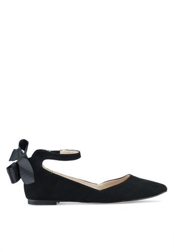 Velvet 黑色 緞帶繞踝麂皮平底鞋 A2FECSHE6F04D5GS_1