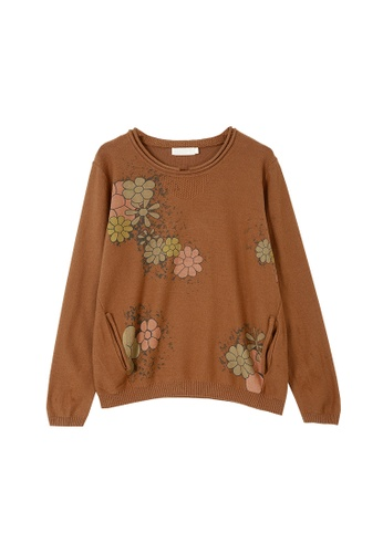 Its Me brown Retro Crew Neck Printed Sweater 8DA40AA8084C24GS_1