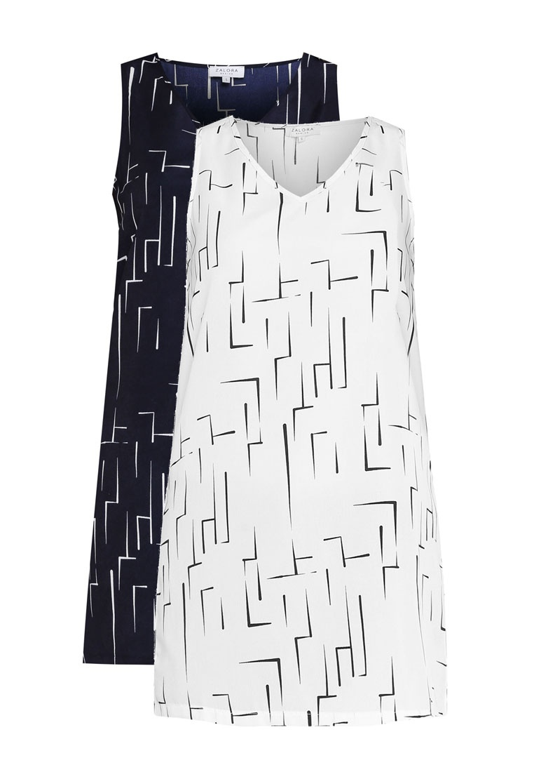 BASICS Print 2 White Side Basic Slits Geo Navy Geo Print Top ZALORA Pack qZWpnZ1