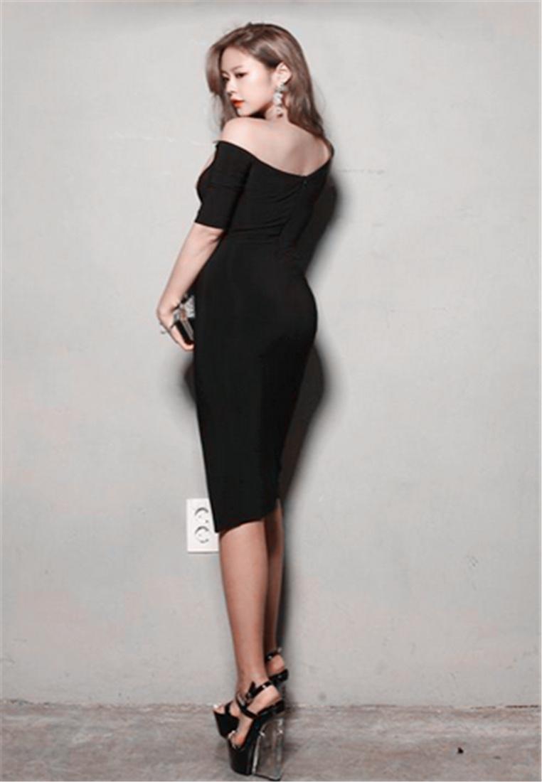 Fashion Net Temperament Stitching Dress Yarn BLACK Oblique Korea Crystal Slim 844wxB57
