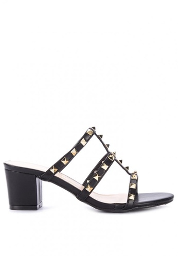 d3b158a13b3 Studded Cage Block Heel Sandals