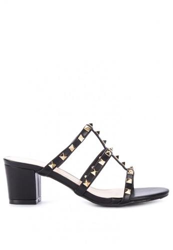 983c76366 Shop Rock Rose Studded Cage Block Heel Sandals Online on ZALORA Philippines