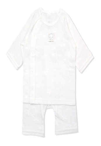 Organic mom white Organic Cotton Johnny Elephant  Jumpsuit 05140KA3F515D6GS_1