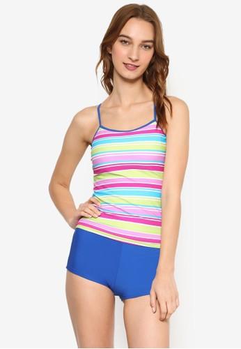 條紋細肩帶兩件式短褲zalora 折扣碼泳裝, 服飾, 泳褲及沙灘造型