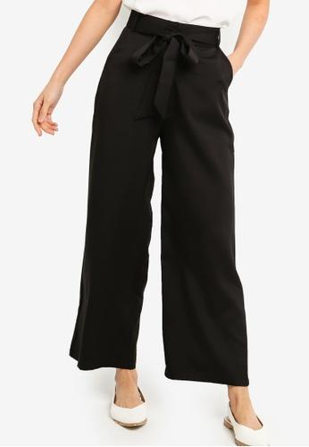 ZALORA BASICS black Basic Woven Wide Leg Pants With Tie 33802AA937EA42GS_1