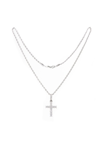 GoldGod gold Flooded Diamond Cross Necklace in White Gold 19AA5AC01556E5GS_1