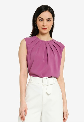 FORCAST pink and purple Kensington Pleat Neck Top C80AAAA981EC11GS_1