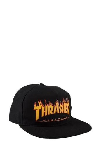 THRASHER black Thrasher Flame Logo Snapback Black 7C562ACA6CCA94GS_1