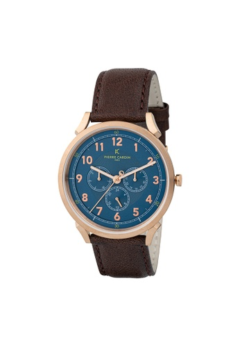 Pierre Cardin Watches brown Pigalle Motion Mens Brown and Gold Leather Watch 42 mm 9A76AAC510AC95GS_1