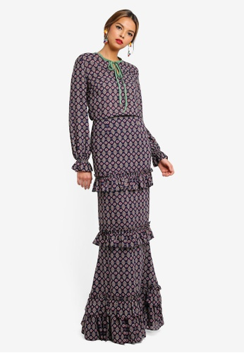 Syomirizwa Gupta for ZALORA blue and multi LOLA Modern Kurung DD9B5AAEEE5AD3GS_1