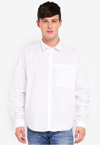 ESPRIT 白色 長袖襯衫 65D94AAFFB40A1GS_1