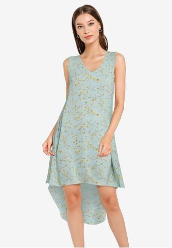 ZALORA WORK green V Neck High Low Hem Dress F4D02AAE4B3FA6GS_1