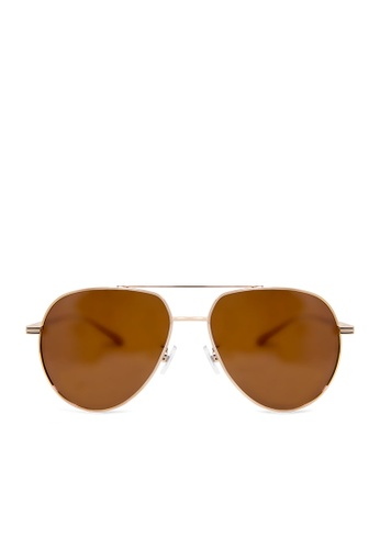 ASLLY multi and gold and brown Nefertiti's Left Eye│Brown Color Pilot Sunglasses 81EFBGL8CE8A15GS_1