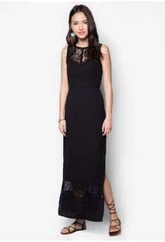 Lace Panel Binding Maxi Dress
