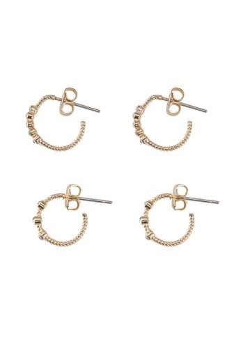 Pieces gold PCJAKKA HOOP EARRING 2-PACK D2D 1A723ACF3583F2GS_1