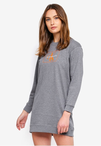 3333b512f06 Calvin Klein grey A Graphic Sweatshirt Dress 7B4FCAAFD8F02DGS 1. CLICK TO  ZOOM