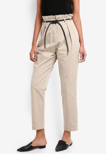 River Island brown Paperbag Tapered Leg Trouser 01620AA8437B66GS_1
