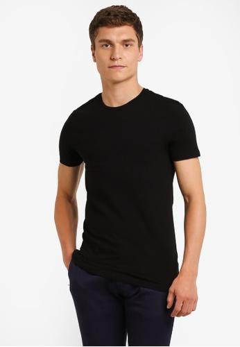 Burton Menswear London black Black Muscle Fit T-Shirt BU964AA0ROAWMY_1