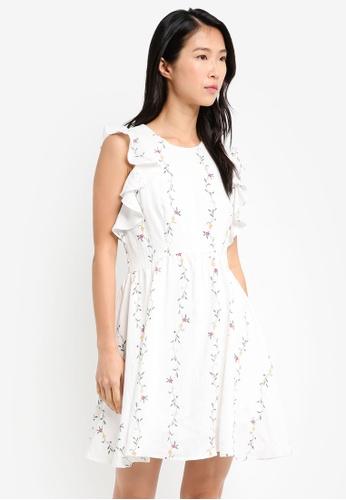 ZALORA white Sleeveless Fit And Flare Dress 3A2A4AABBCB8B7GS_1