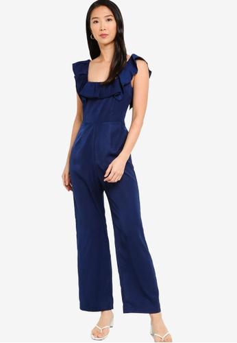 ZALORA BASICS 海軍藍色 花卉褶飾無袖連身褲 1510FAA332E659GS_1