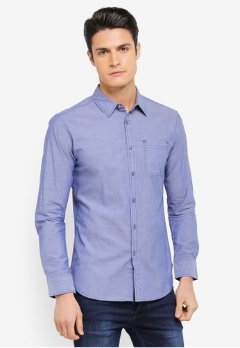ZALORA blue Long Sleeve Shirt with Contrast Stitching BBA00AAED99920GS_1