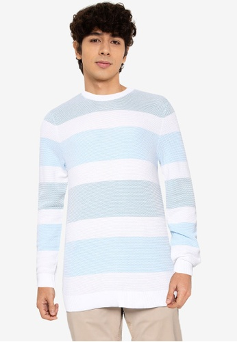 JACK & JONES blue Side Knit Crew Neck Sweatshirt D27B7AAC66D8E4GS_1