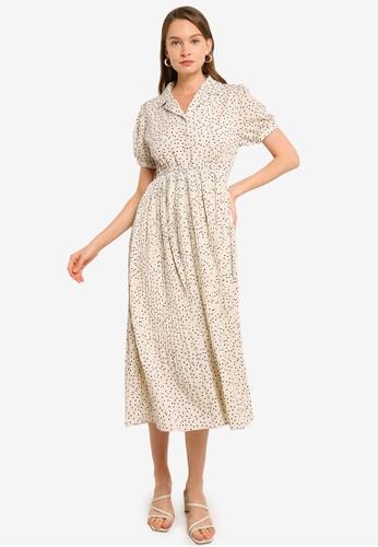 Heather beige Woven Shirt Midi Dress 06275AA4C24FD2GS_1