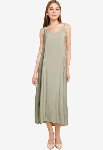 LOWRYS FARM green Flowy Slip Midi Dress 54EEBAA1F63286GS_1