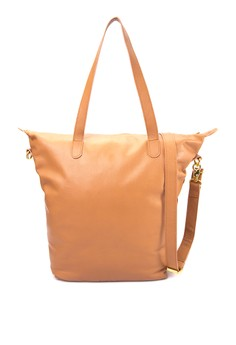 Cesca Genuine Leather Zippered Tote