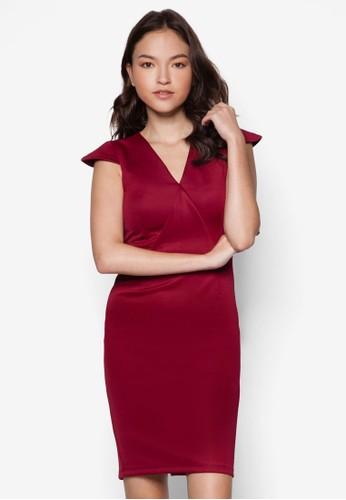 Eva V esprit台北門市領蓋袖修身連身裙, 服飾, 服飾